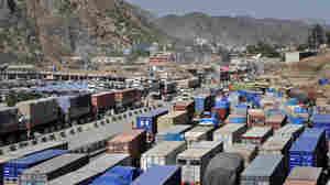 NATO trucks at Afghan border