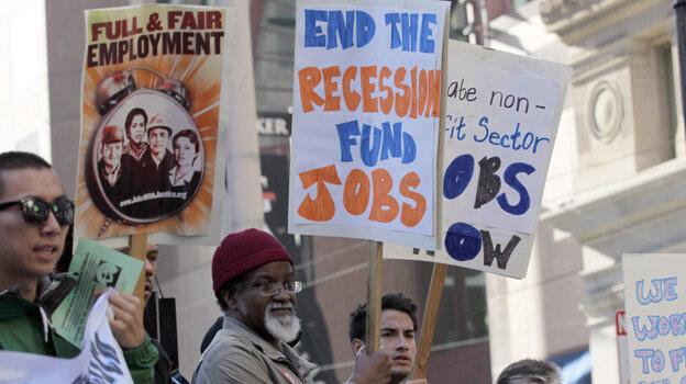 People demanding job creation rallied outside Sen. Dianne Feinstein's (D-CA) office in San Francisco