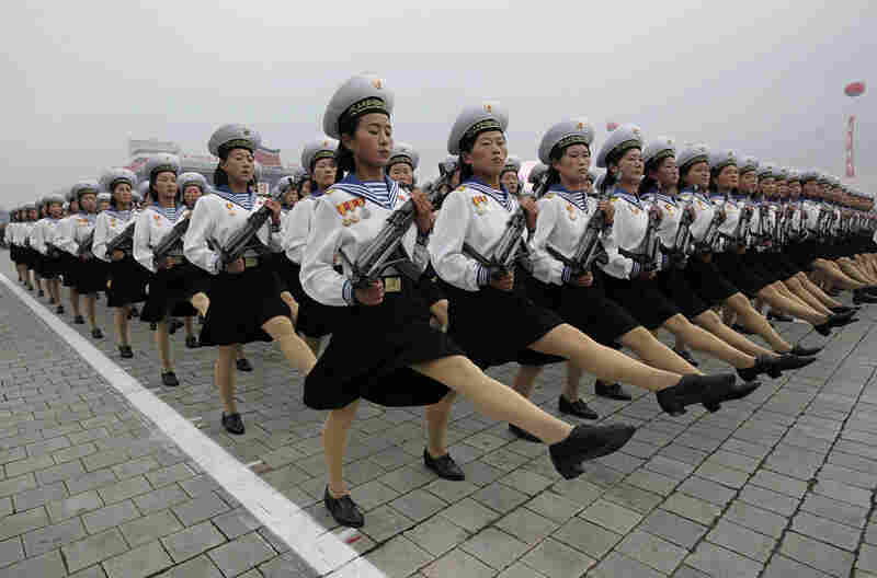 The parade's marchers included thousands of troops as well as members of North Korea's naval officers' academies and military nursing schools.