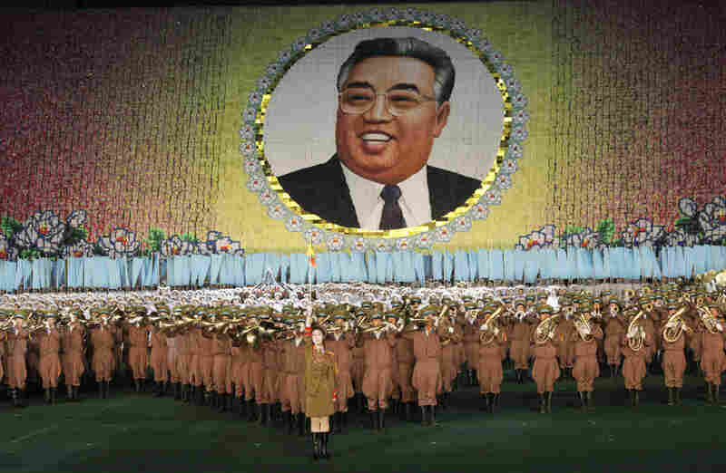 The portrait of Kim Il Sung played above thousands of dancers performing at the Arirang Mass Games.