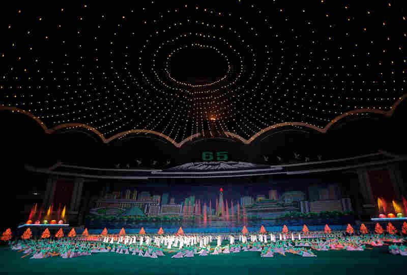 A select group of media outlets was allowed into the country to cover the festivities, and were given front-row seats at the two events where the Kims appeared: a performance of the Arirang Mass Games spectacle Saturday and the military parade.