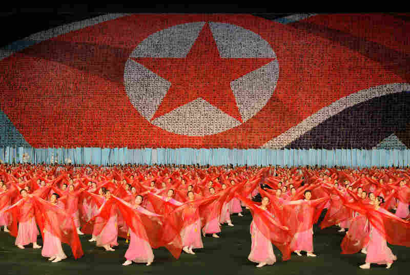The nighttime celebration in Pyongyang exploded into a grand spectacle of fireworks, patriotic music and color.