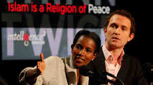 """Ayaan Hirsi Ali (left) and Douglas Murray argue against the motion """"Islam Is a Religion of Peace."""""""