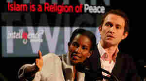 "Ayaan Hirsi Ali (left) and Douglas Murray argue against the motion ""Islam Is a Religion of Peace."""