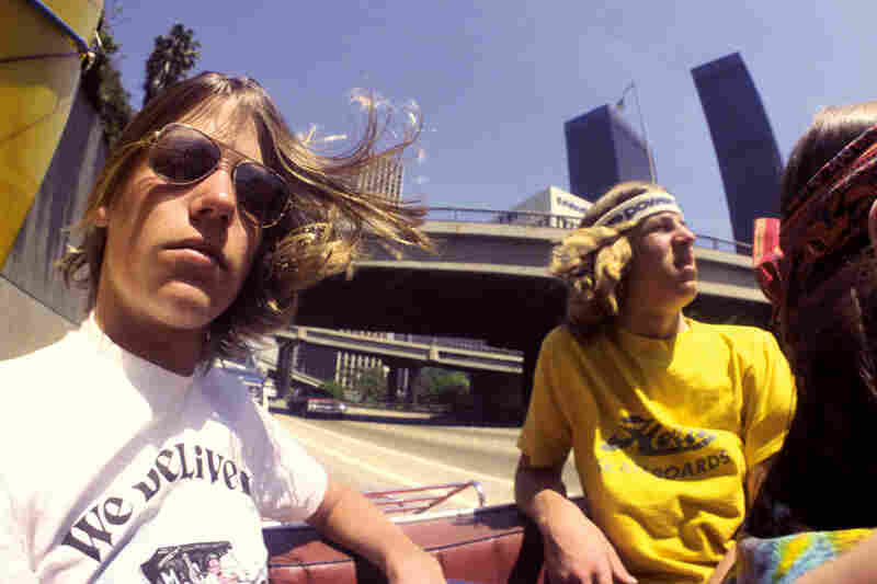 Curtis Brazis, left, and Darren Miller, Harbor Freeway, downtown Los Angeles, June 1978