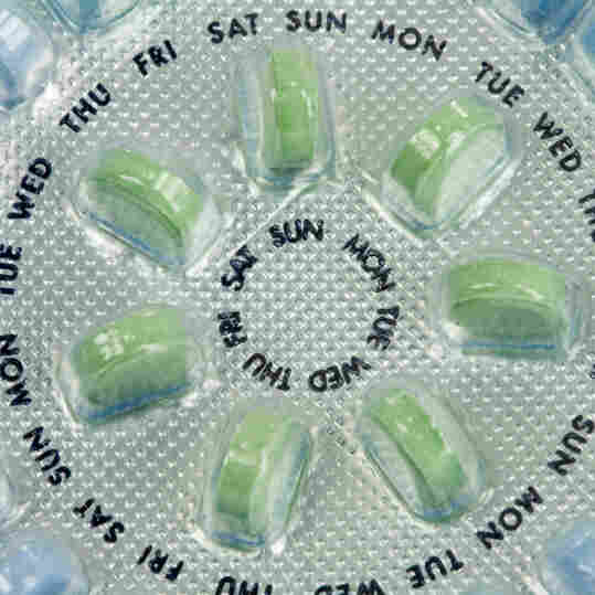 A package of birth control pills seen close up.