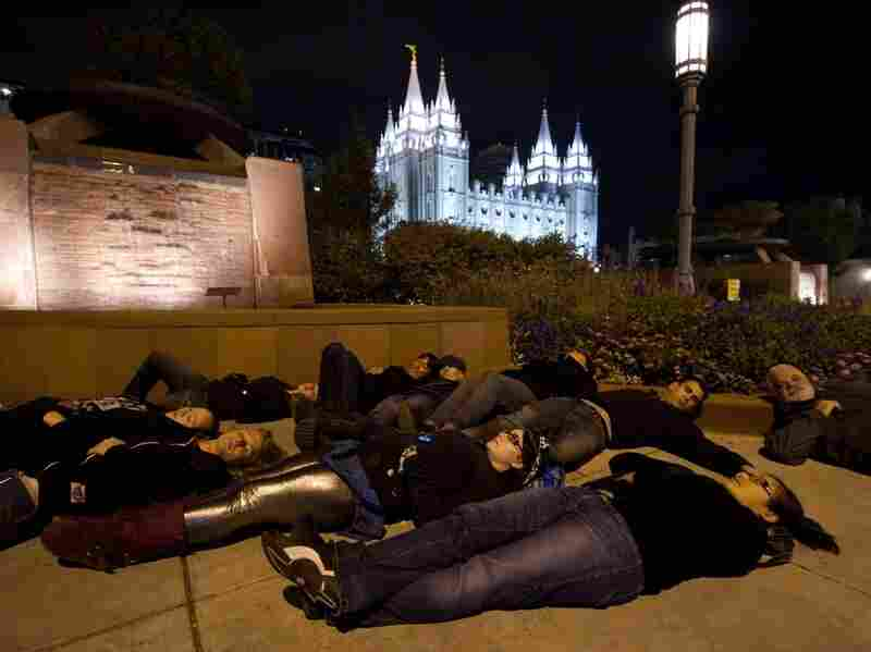 Gay-rights activists protest near the Church of Jesus Christ of Latter-day Saints temple in Salt Lake City.