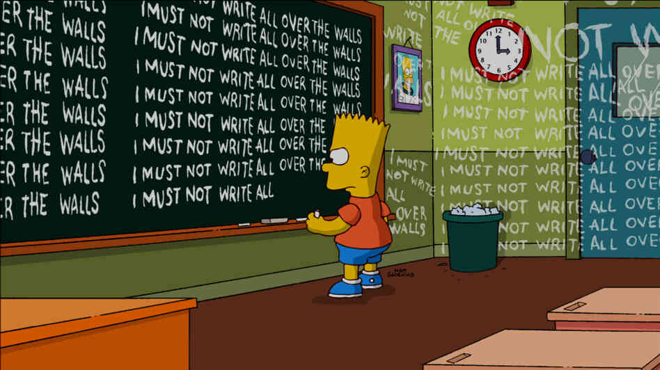 Bart writes on the walls