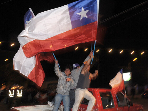 People celebrate in Copiapo after the st