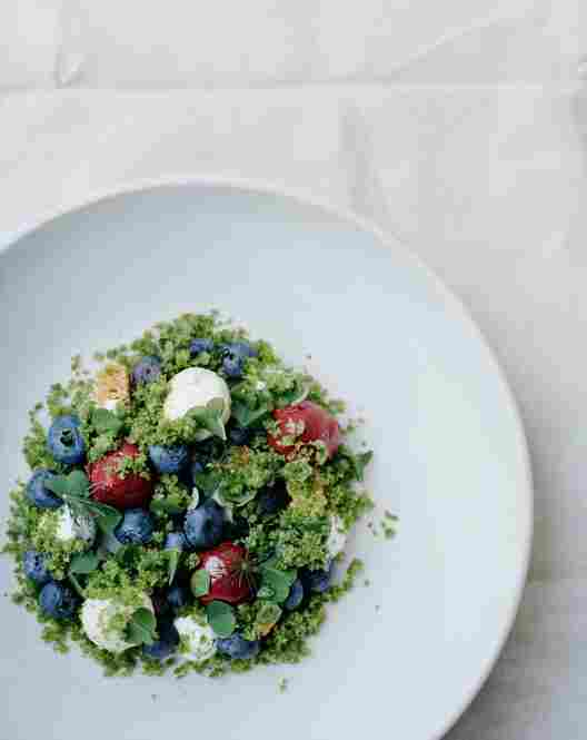 "Blueberries Surrounded By Their Natural Environment: What appears to be green grain is actually a ""spruce granita,"" made with spruce, sorrel and xanthan gum."