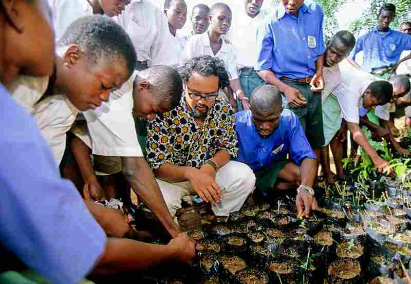 Planting trees with a local school in Ghana, 2000