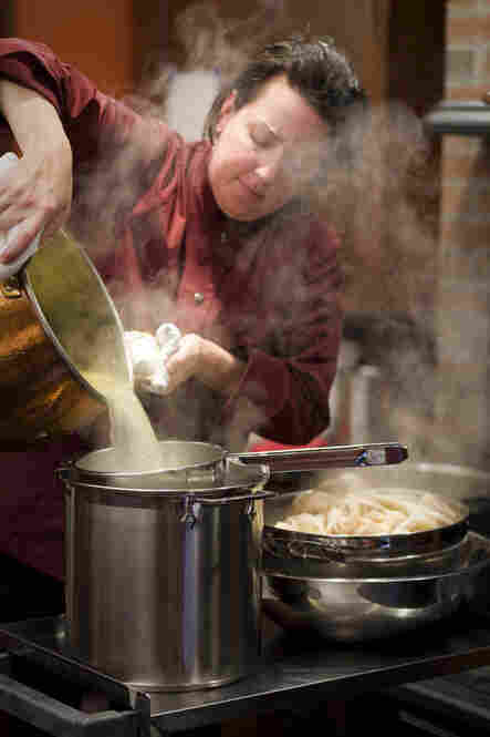 America's Test Kitchen Kitchen Director Erin McMurrer helped prepare the feast, which involved cooking stocks from scratch for dishes like Mock Turtle Soup.