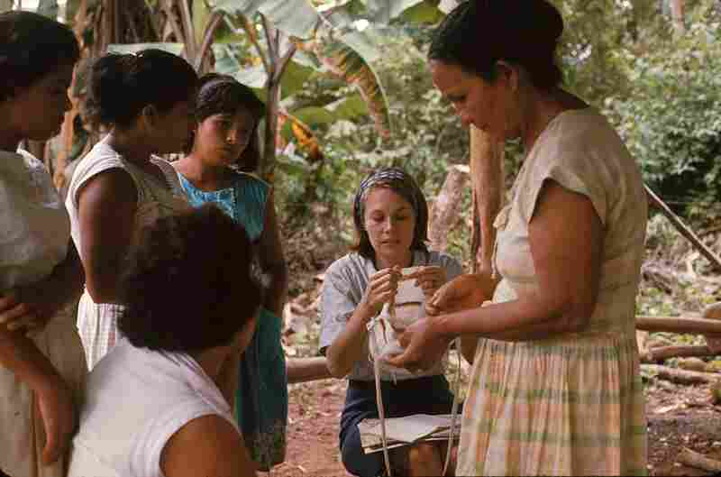 Working with a women's group to create crafts as a source of secondary income in Panama, 1969