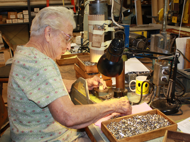 """Rosa Finnegan, who is proudly """"98 and a half,"""" never misses a day of work at Vita  Needle. Finnegan says it is important for her to have a place to go when she wakes up, and  she has found a community at her workplace."""