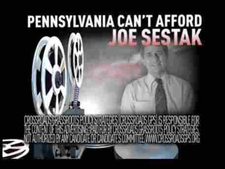 Screen image from a TV ad by the conservative Crossroads GPS. The ad took aim at Rep. Joe Sestak.
