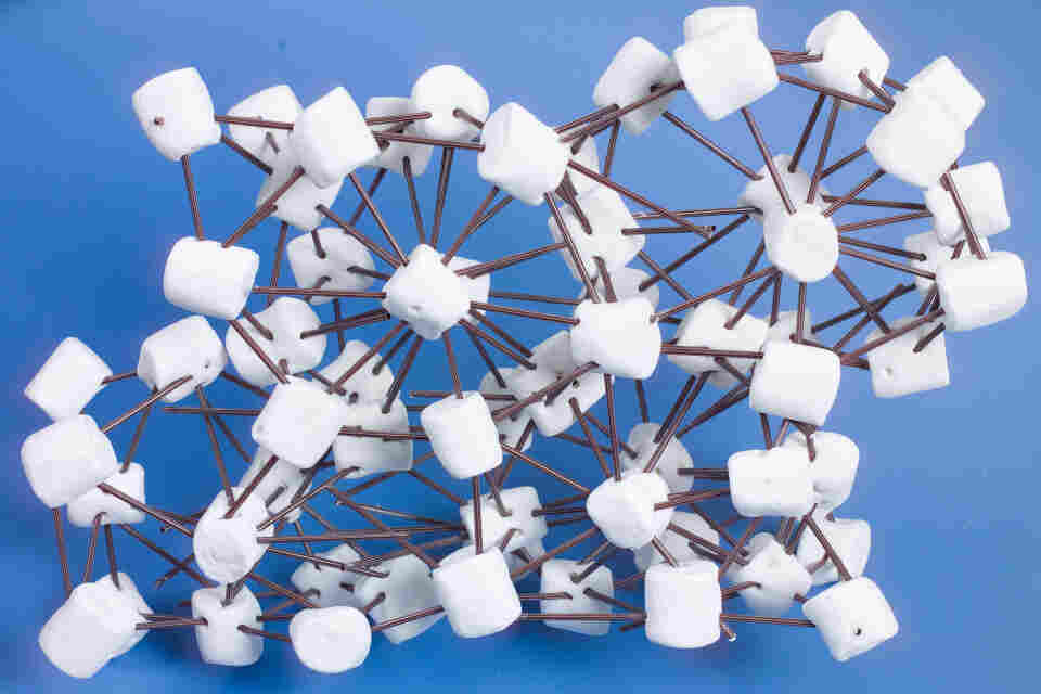 A marshmallow and coffee stirrer model a crystal structure