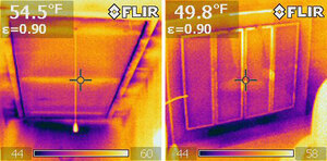 Infrared images of pull-down attic stairs (left) and a fireplace with glass doors