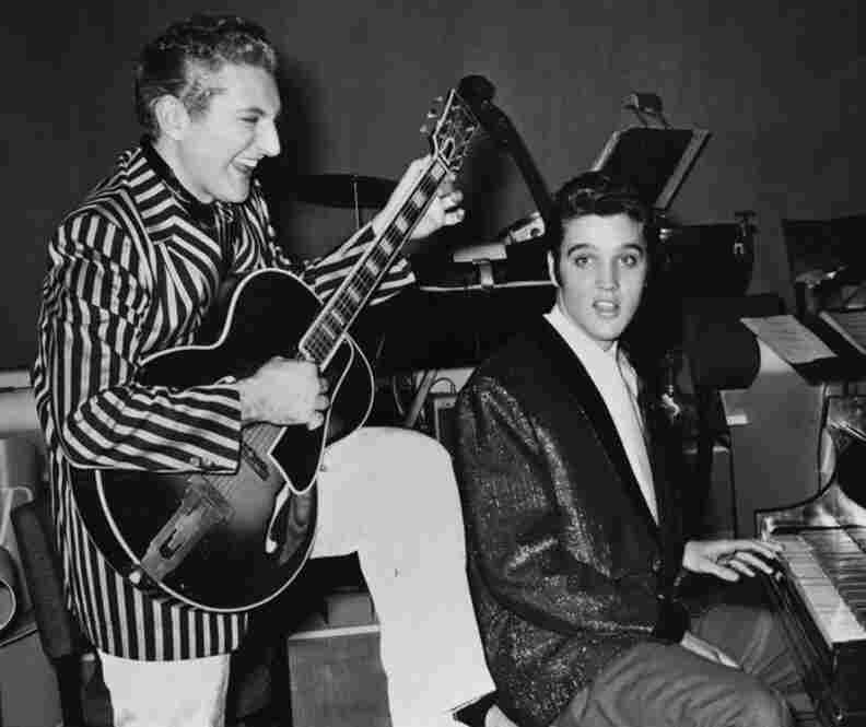 Liberace with Elvis Presley, at the Riviera Hotel in Las Vegas in November 1956.