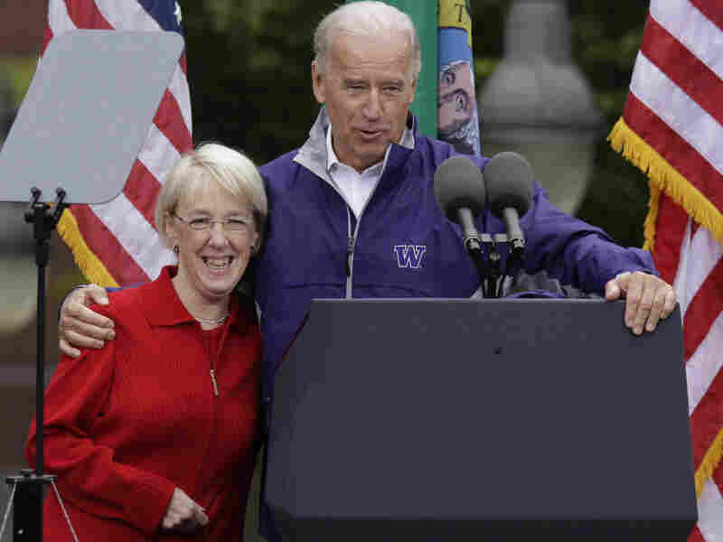 Patty Murray and Vice President Biden at a political rally in Tacoma, Wash.