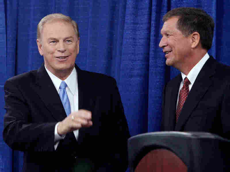 Ohio Gov. Ted Strickland (left) and Republican challenger John Kasich at an Oct. 7 debate.