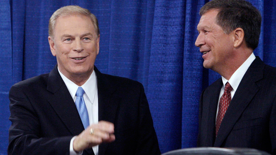 Ohio Gov. Ted Strickland (left) and Republican challenger John Kasich at an Oct. 7 debate in Toledo. Nathan Daschle, the executive director of the Democratic Governors Association, points to the help Strickland's efforts gave to the Obama campaign in 2008 as an example of how governors can influence the presidential election.