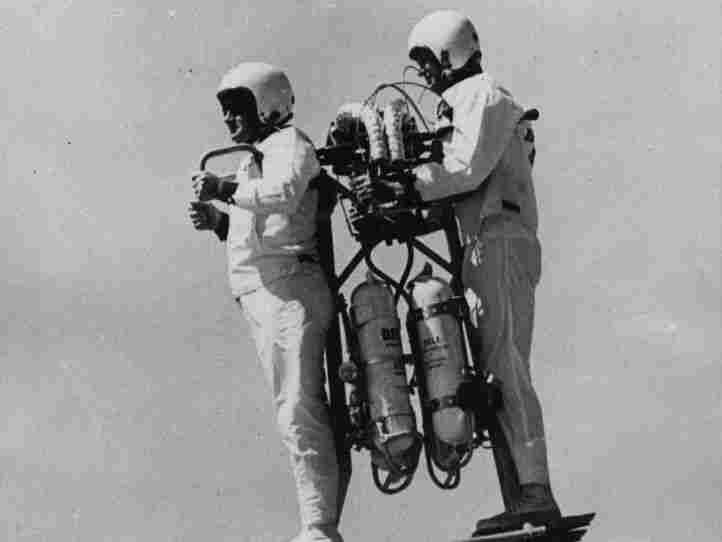"""A two-man """"sky taxi"""" jet pack developed by Textron's Bell Aerosystems."""
