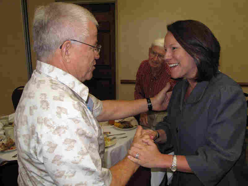 Republican Martha Roby greets voters at a Kiwanis Club luncheon in Dothan, Ala.