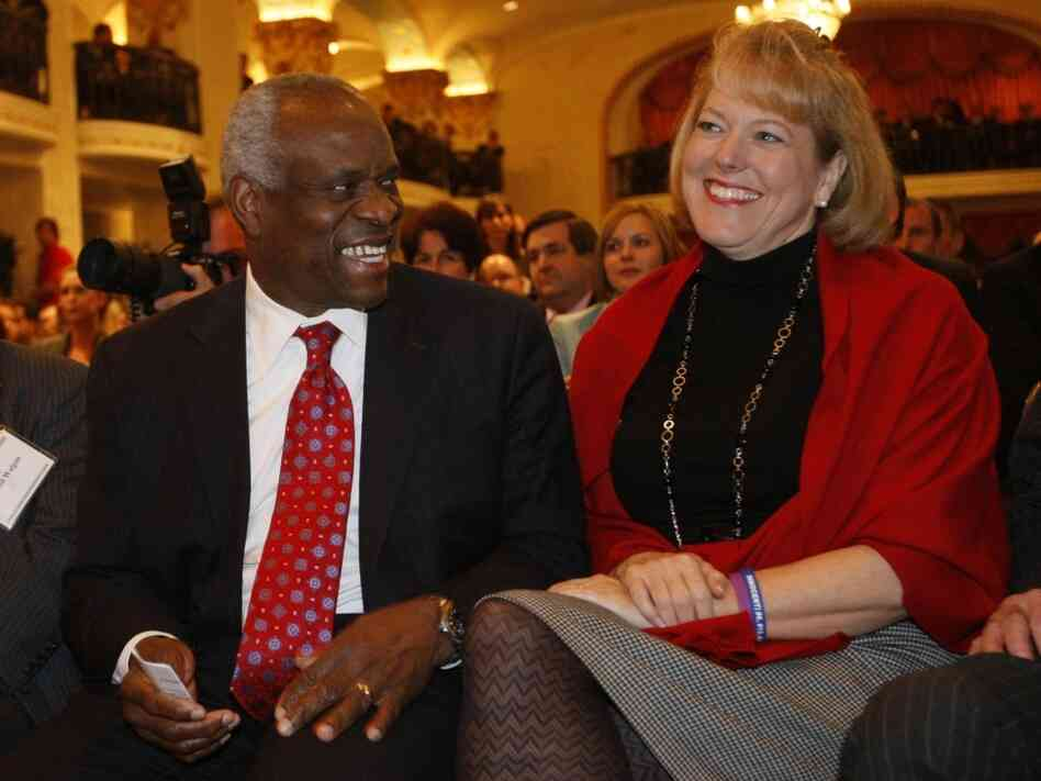 Justice Clarence Thomas with his wife, Virginia Thomas.