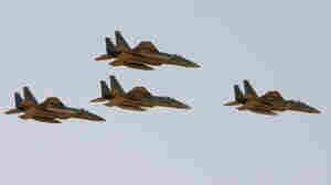 The Saudi Air Force flies F-15 warplanes over the capital Riyadh.