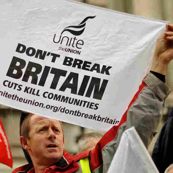 Thousands of demonstrators rallied in London this fall against harsh austerity measures in Britain.