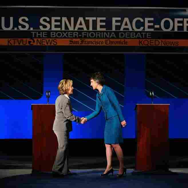 Sen. Barbara Boxer, D-CA., left, and GOP challenger Carly Fiorina. Sept. 1, 2010.