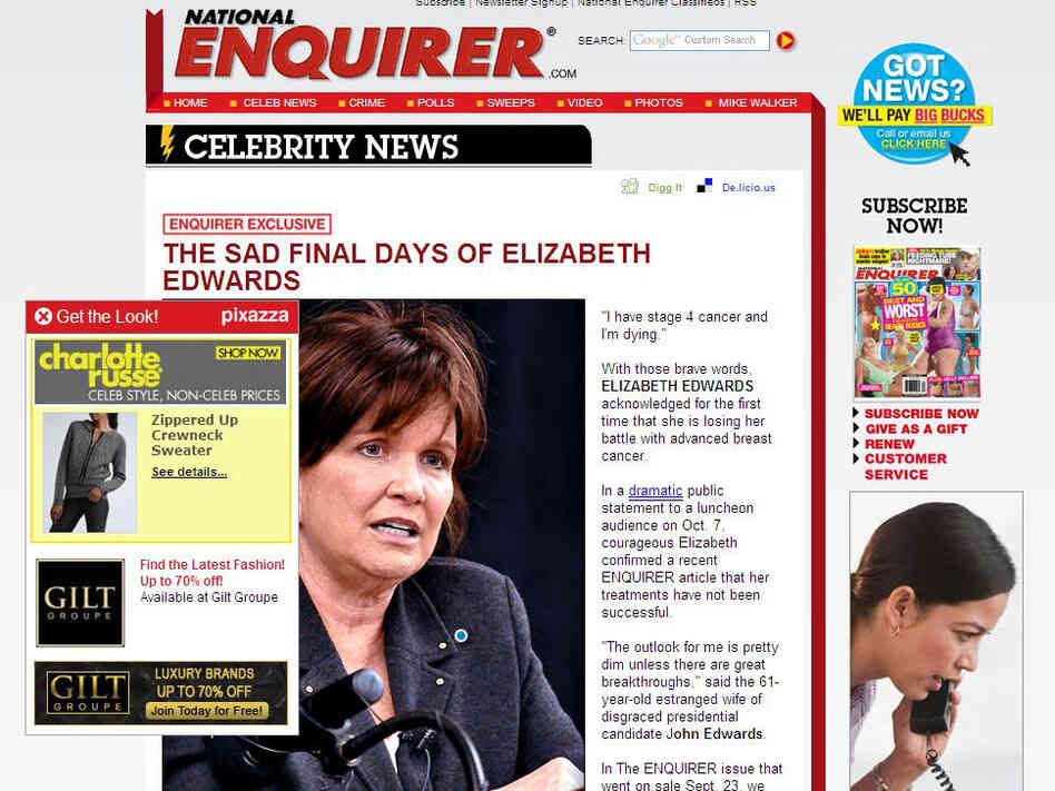 An in-image ad was tied to this National Enquirer story about Elizabeth Edwards.