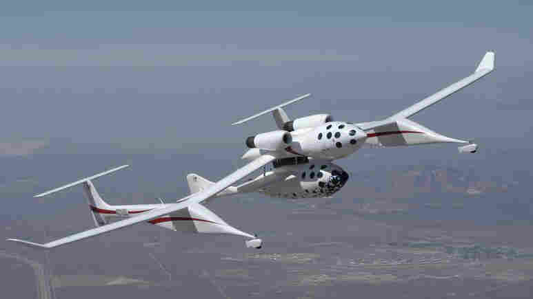 SpaceShipOne and The White Knight above the Mojave Desert