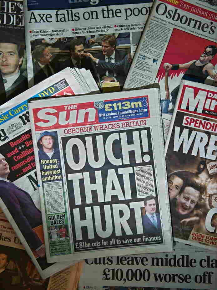 The front pages of some British national