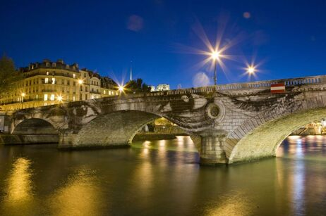 Bridge in Paris France by artist JR