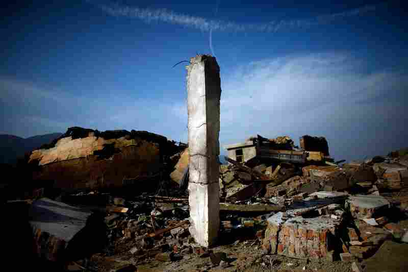 The ruins of a once-thriving U.S. base near the Ghakhi Pass. Interviews with local officials suggest that the CIA built the massive compound years ago. Now it is charred and demolished. The CIA did not respond to questions from NPR about the base.