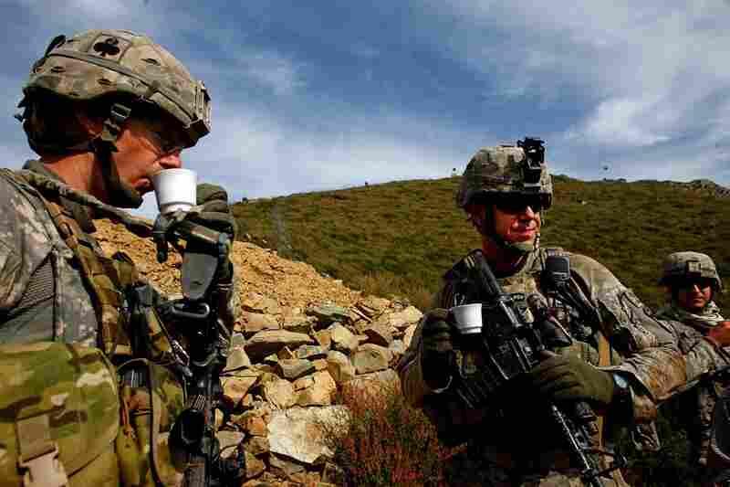 U.S. soldiers enjoy the tea.