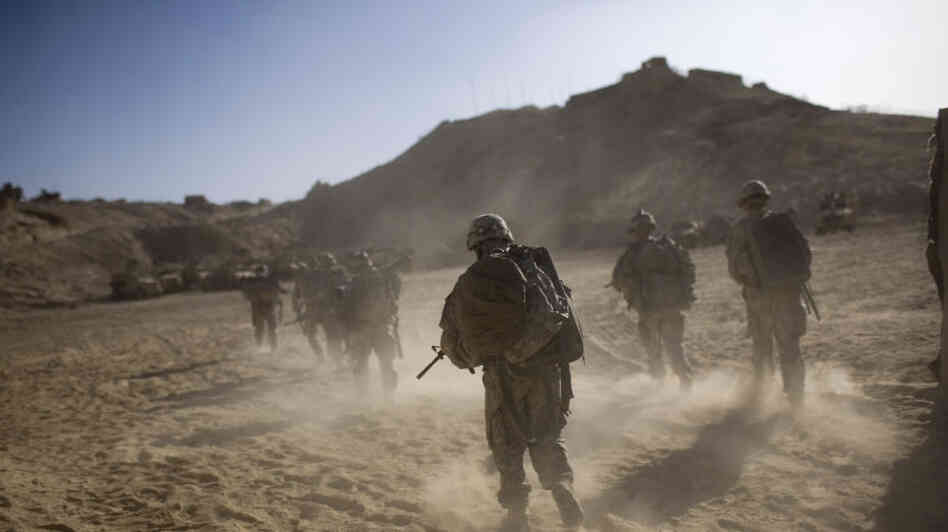 US soldiers on patrol in Kandahar.
