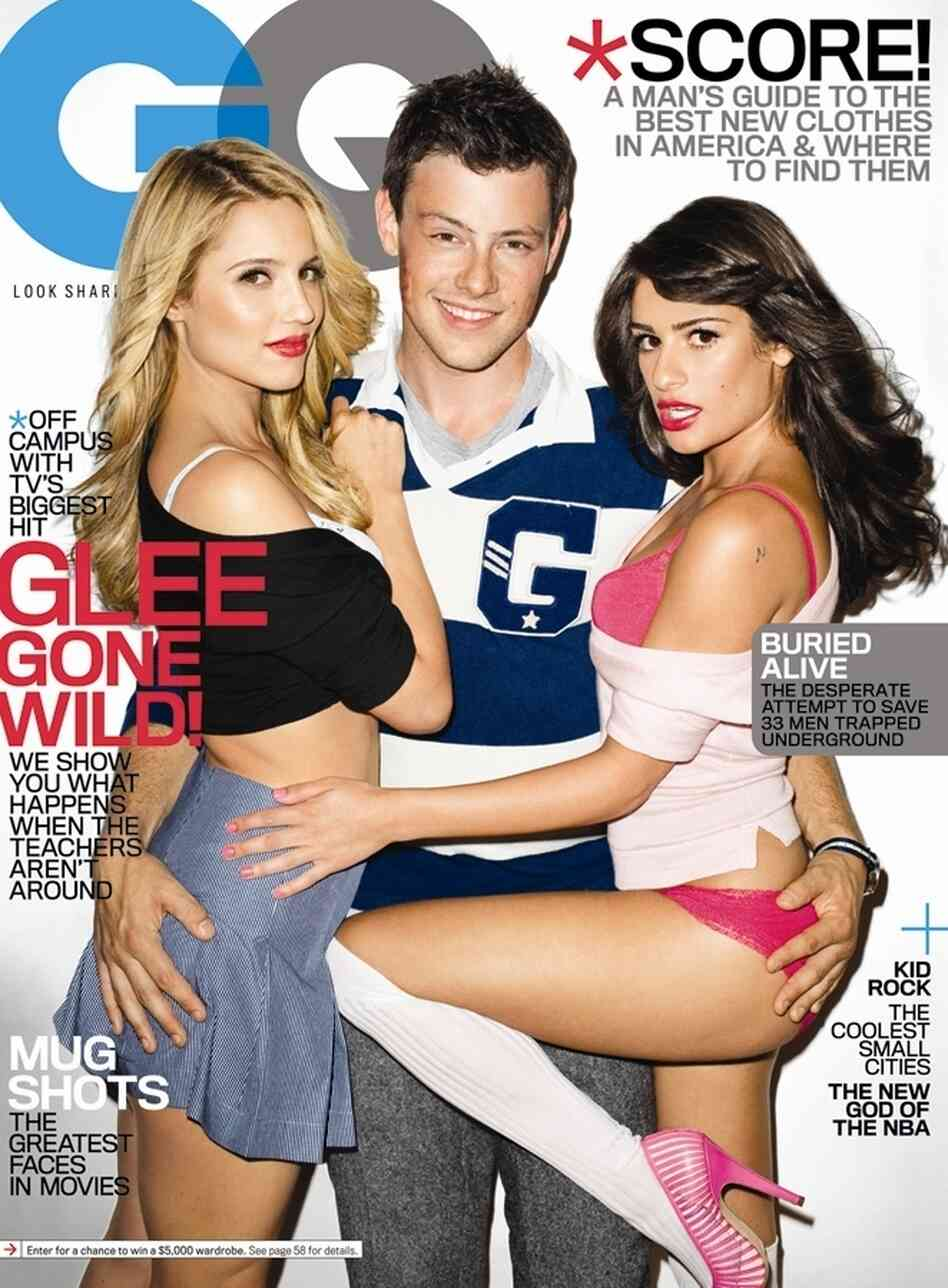 GQ's Glee cover, featuring Dianna Agron, Cory Monteith, and Lea Michele