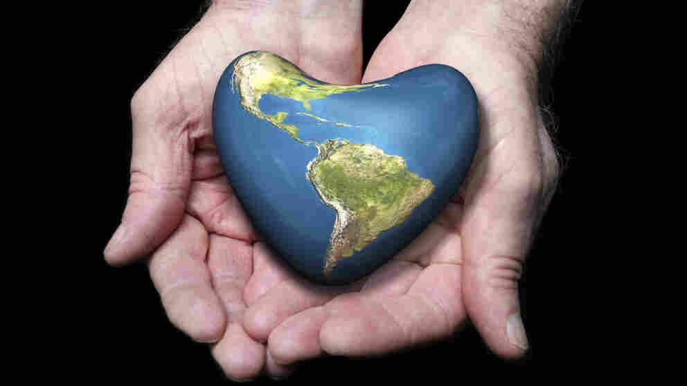 The earth, shaped like a heart.
