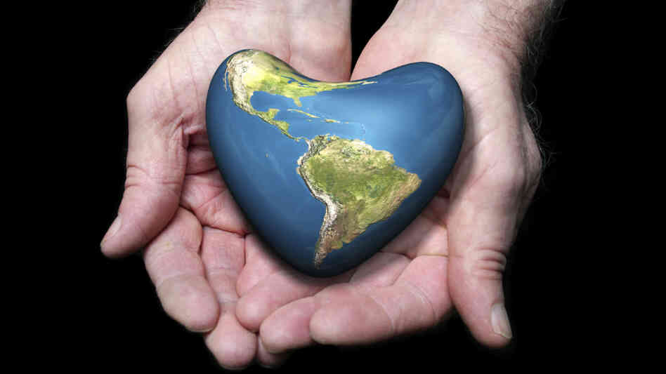 The earth, shaped like a heart.