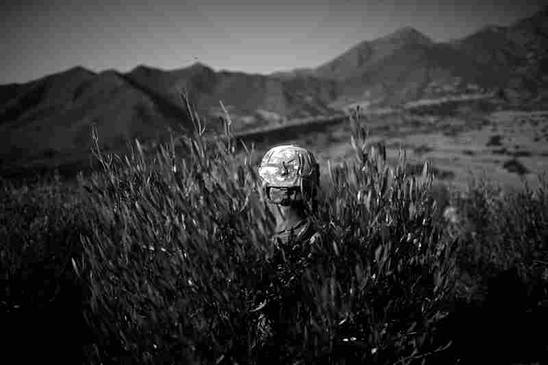 An American soldier sits in a bush while on daily patrol in Asmar district of Kunar province. October 2010