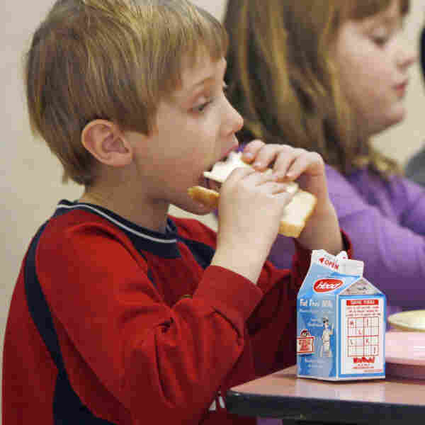 Students eat lunch at Sharon Elementary School in Vermont