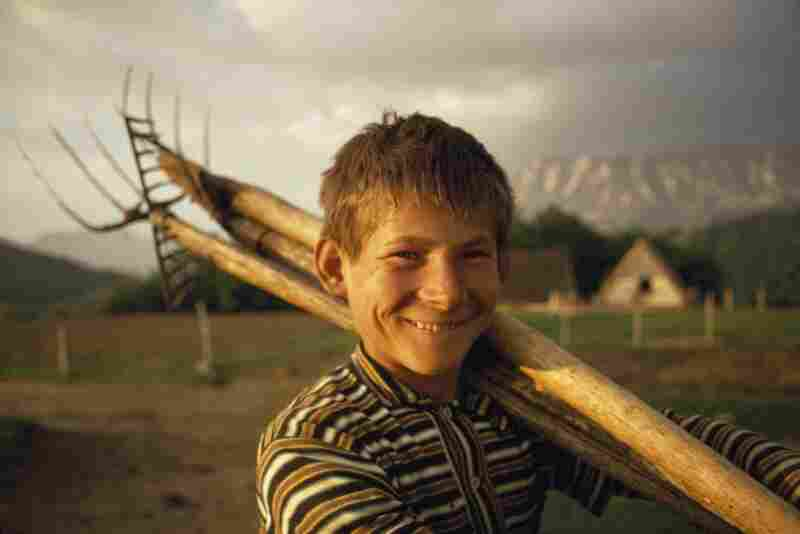 A boy takes a break from work on his family's farm, Dinaric Alps, Bosnia