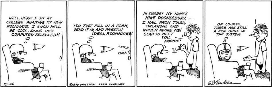 The first Doonesbury comic strip from Oct. 26, 1970