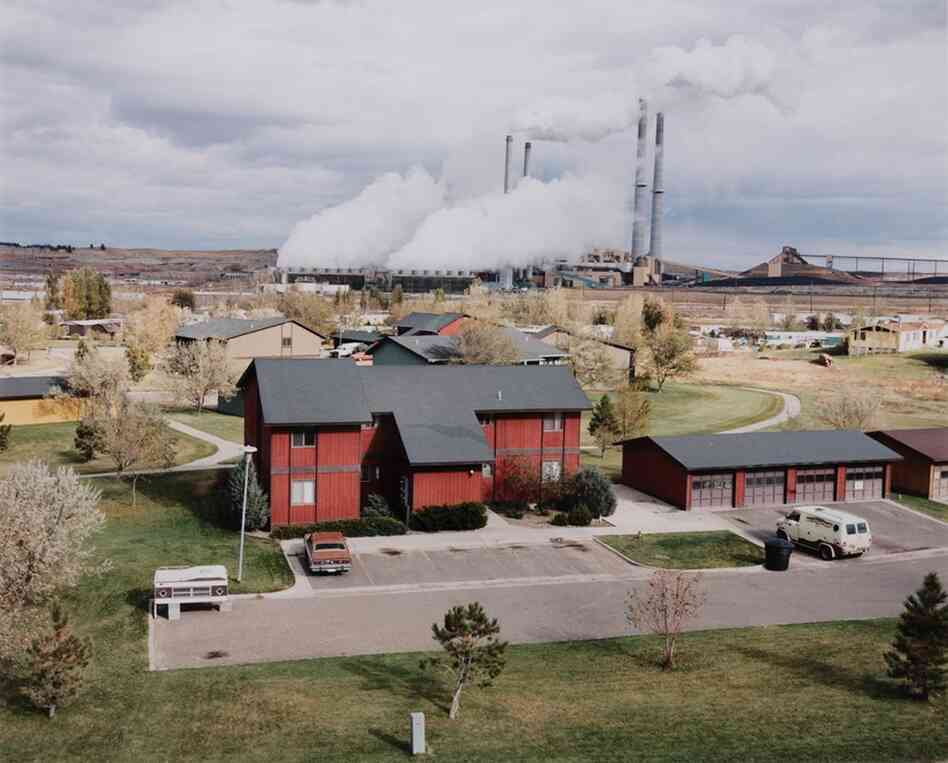 View from First Baptist Church of Colstrip: company houses and power plant, 1984