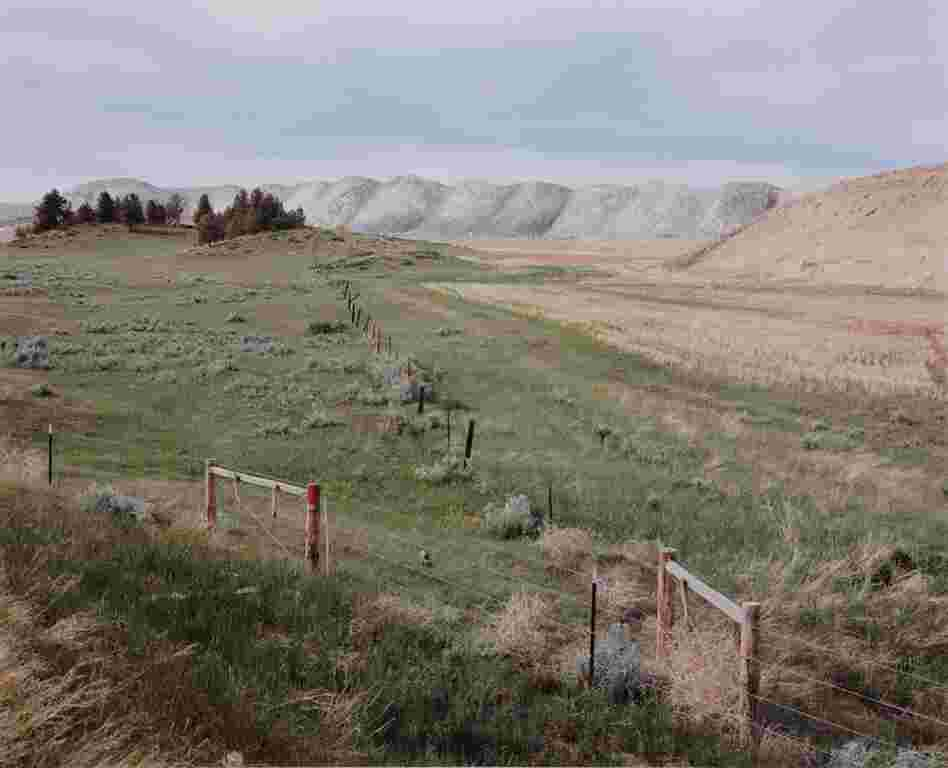 View from Sarpy Creek Road: new mine area and spoil piles, 1985