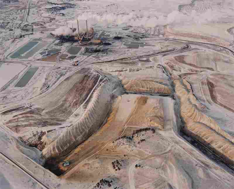 Strip mine, power plant and waste ponds, 1984