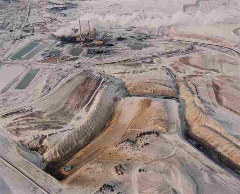 Strip mine, power plant and waste ponds, 1984