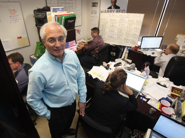"Sal Russo, Tea Party Express founder, in his Sacramento, Calif., ""war room"" in March."